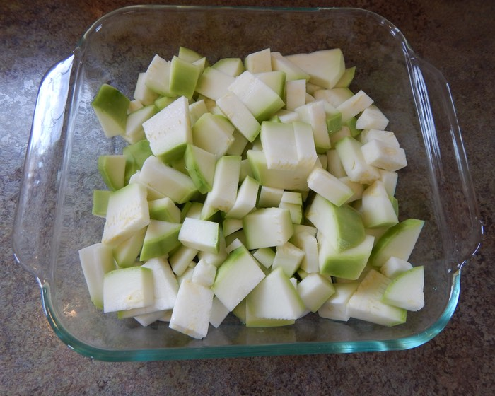 Zucchini cut up. I use and 8x8 pan.